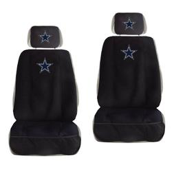 2 New Dallas Cowboys Car Truck Front Seat Covers w/ Head Res