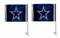 2 Pack NFL Dallas Cowboys Blue Car Auto Flag Banner & Pole 2