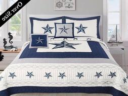 5 Piece Dallas Cowboys Western Star Design Quilt BedSpread C