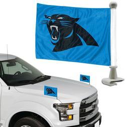 Carolina Panthers Set of 2 Ambassador Style Car Flags - Trun