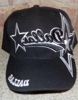 dallas black hat cap script visor embroidered