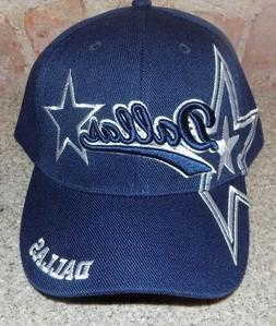 Dallas  Blue Hat Cap Script Visor Embroidered Signature Doub