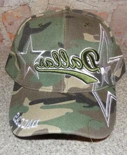 dallas camo hat cap script visor embroidered