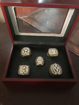 DALLAS COWBOY CHAMPION 5 RING SET WITH CHERRYWOOD BOX!