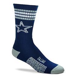Dallas Cowboys 4 Stripe Deuce Navy Socks, Large