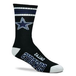 * Dallas Cowboys Black Deuce 4 Stripe Crew Socks Men's Mediu