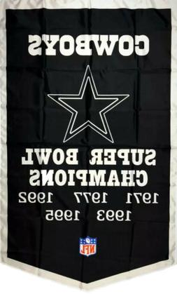 Dallas Cowboys Black NFL Super Bowl Championship Flag 3x5 ft
