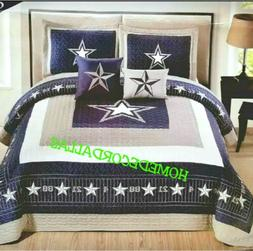DALLAS COWBOYS KING OVERSIZED COVERLET-QUILT-BEDSPREAD 5PC S