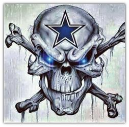 Dallas Cowboys NFL Skull Car Bumper Sticker Decal - 3'' or 5