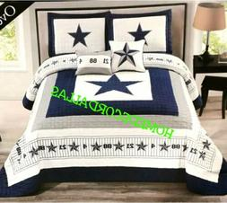 DALLAS COWBOYS OVERSIZED KING STAR-BLUE COVERLET-QUILT-BEDSP