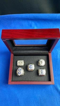 Dallas Cowboys Set of 5 Silver Color Super Bowl Rings With W