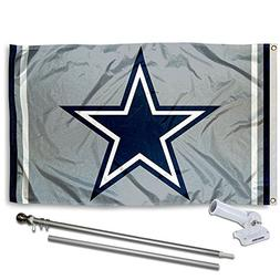 WinCraft Dallas Cowboys Silver Flag Pole and Bracket Kit