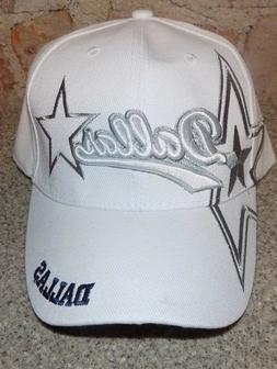 Dallas  WHITE Hat Cap Script Visor Embroidered Signature Dou
