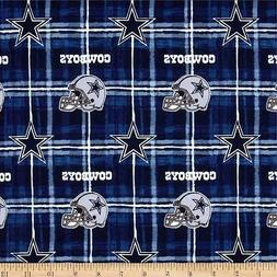 Fabric Dallas Cowboys NFL on Navy Flannel by the 1/4 yard BI