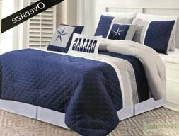 KING COMFORTER 6 Pc SET Navy Blue Dallas Cowboys Star Bedspr
