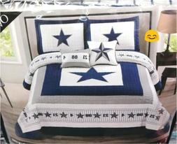 King Dallas Cowboys Quilt Bedspread Oversize 5pc set w/numbe