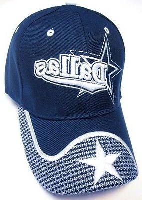 dallas city blue hat cap script wave