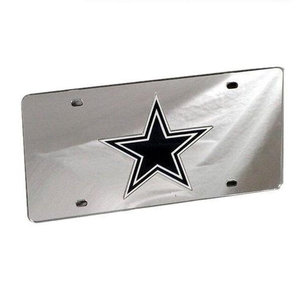 Dallas Cowboys Deluxe Silver Mirrored Laser Cut License Plat