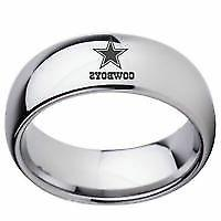 dallas cowboys emblem 8mm shiny silver stainless