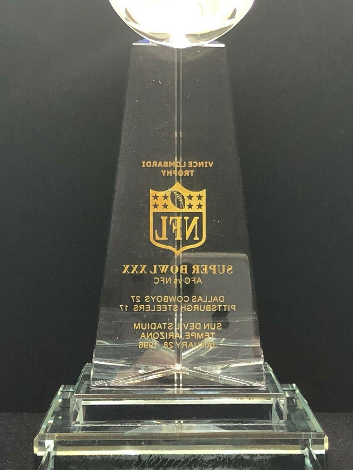 Dallas Cowboys Super XXX Lombardi Crystal Trophy LE