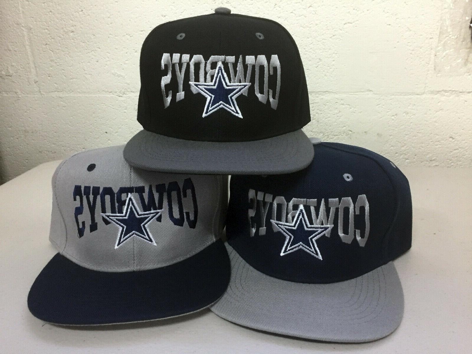 dallas cowboys writing snap back cap hat