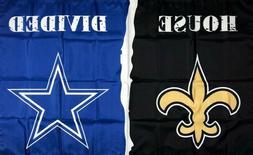 New Orleans Saints vs Dallas Cowboys House Divided Flag 3x5