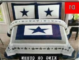 SPECIAL!! 3PC SET DALLAS COWBOYS KING COVERLET/QUILT WHITE G